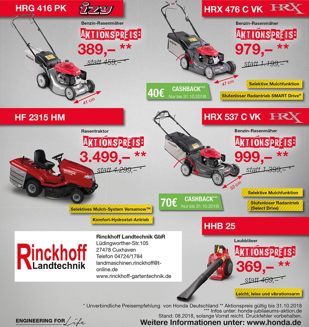 Aktionspreis für Rasenmäher und andere Hondaprodukte